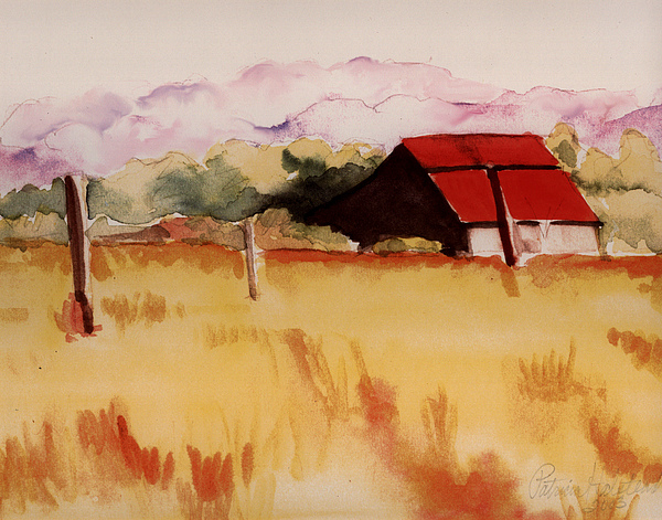 Watercolor Landscape Painting - Sonoma Wheatfield by Patricia Halstead