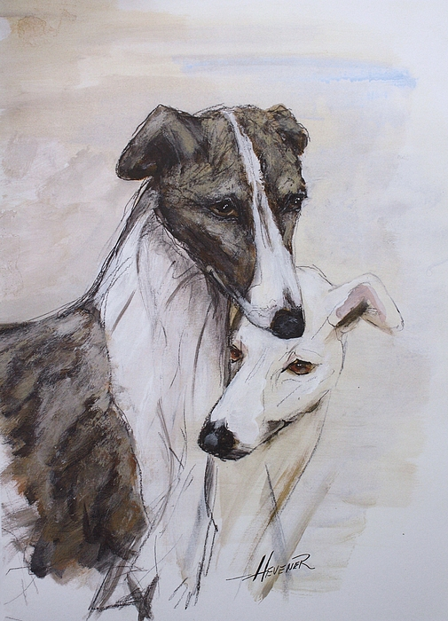 Greyhound Painting - Soulmates by Ron Hevener