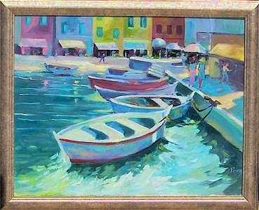 Painting Painting - South Beach  Marina by Perry  Rubenstein