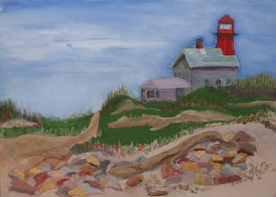 Lighthouse Painting - South Lighthouse Block Island Oil by Joan Wallace Reeves