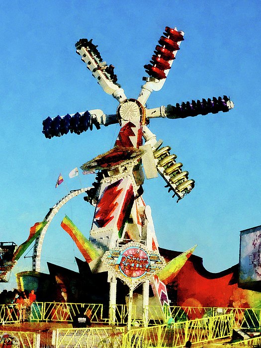 Carnival Photograph - Space Racer In Distance by Susan Savad