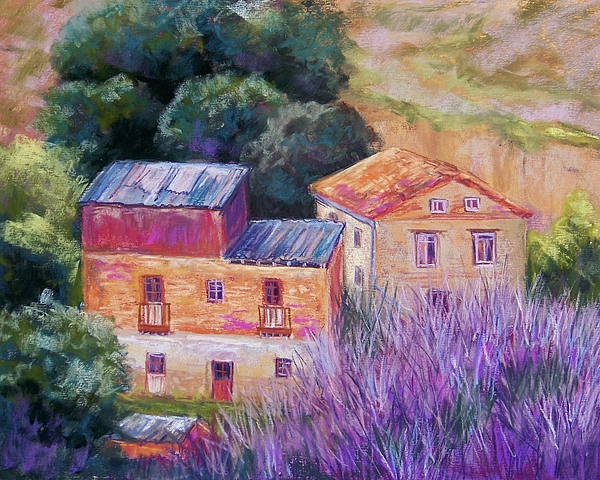 Landscape Pastel - Spanish Farmhouses by Candy Mayer