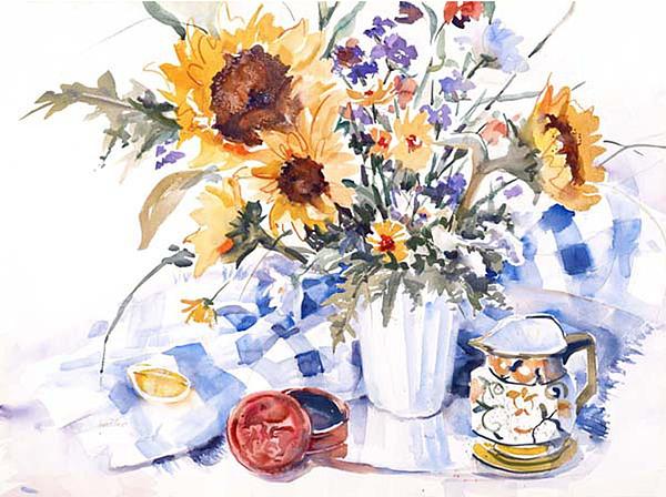 Sunflowers Painting - Spanish Urn by Joan  Jones
