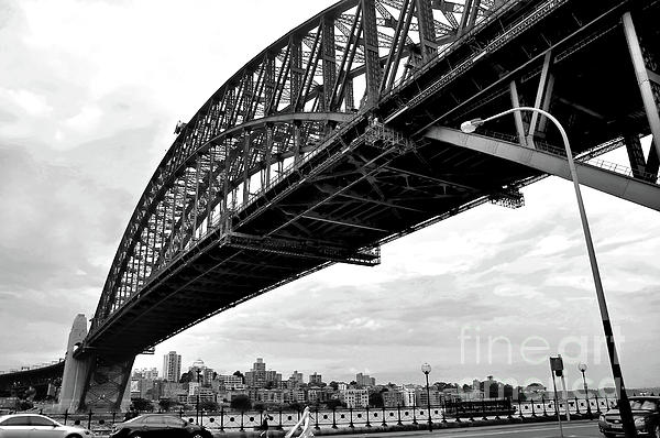 Black And White Photograph - Spanning Sydney Harbour - Black And White by Kaye Menner