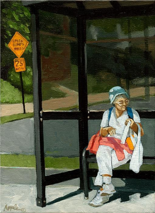 City Scene Painting - Speed Bumps Ahead -  Urban Painting by Linda Apple