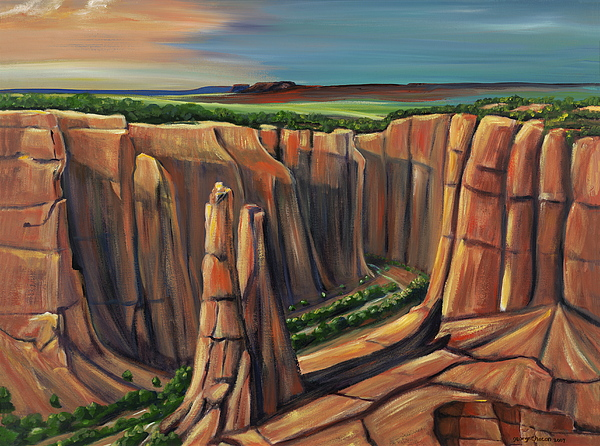 Spider Rock Painting - Spider Rock Canyon De Chelly Ar by George Chacon