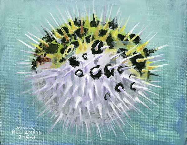 Spotted Green Puffer Fish Painting - Spike by Arleana Holtzmann