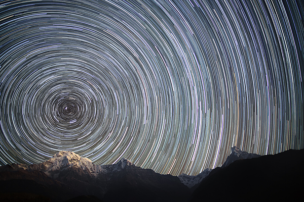 Horizontal Photograph - Spinning Stars Above Himalayas by Anton Jankovoy
