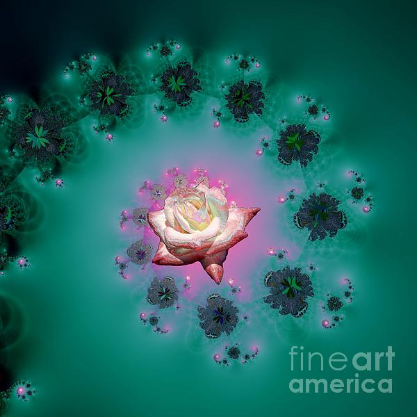 Rose Mixed Media - Spiral To A Rose Fractal 140 by Rose Santuci-Sofranko