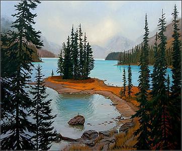 Landscape Painting - Spirit Island - Maligne Lake by Dmitry Oivadis