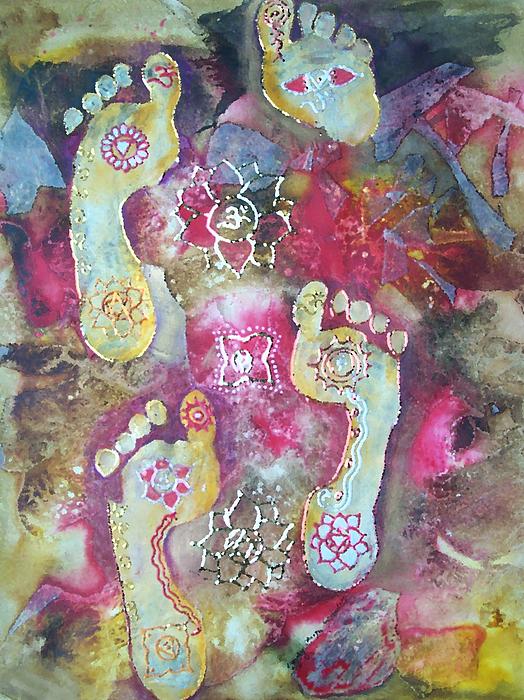 Footprints Painting - Spiritual Awakening by Vijay Sharon Govender