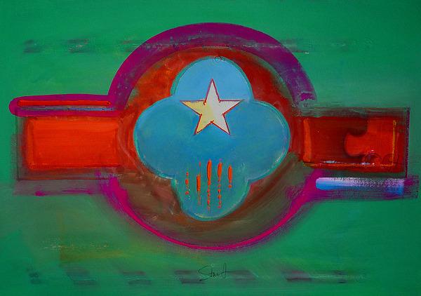 Star Painting - Spiritual Green by Charles Stuart