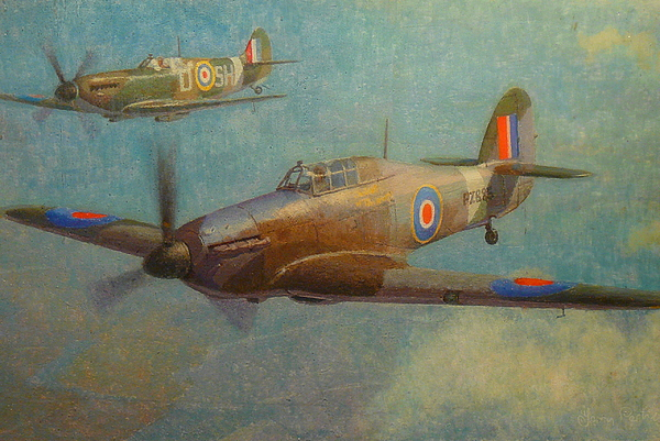 Ww2 Aircraft Painting - Spit And Hurri by Terry Perham