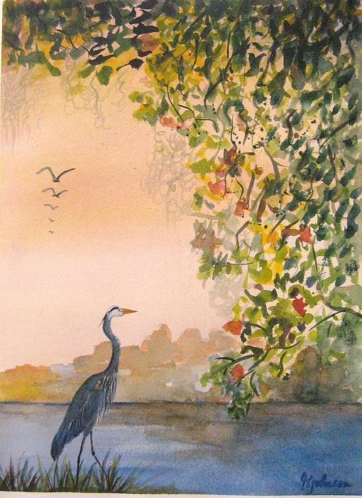 Blue Heron Painting - Splendor In The Grass by Georgia Johnson