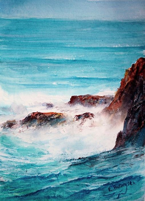Sea Painting - Spotlight On The Foam by Evelyn Antonysen