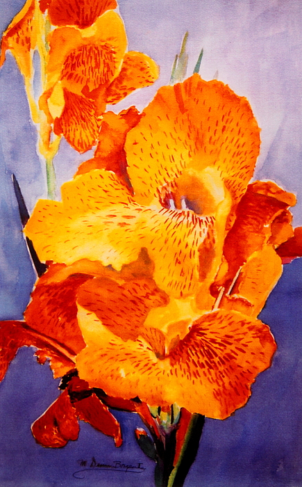 Yellow Painting - Spotted Canna by M Diane Bonaparte