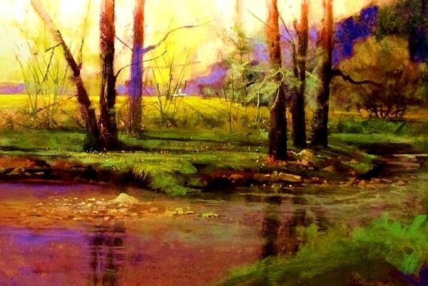 New Growth Painting - Spring Fields Along Sunlite Creek by Joseph Barani