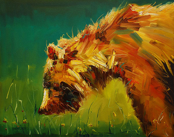 Bear Painting - Spring Flower Bear by Diane Whitehead