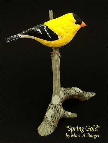 Goldfinch Sculpture - Spring Gold by Marc  Barger
