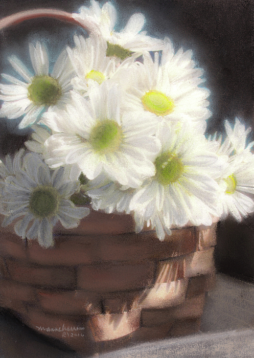 White Painting - Spring White Daisies by Melissa Herrin