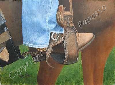 Western Painting - Spur N Stirrup by Kathie Papasso