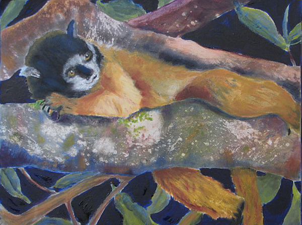 Monkey Painting - Squirrel Monkey Revised by Libby  Cagle