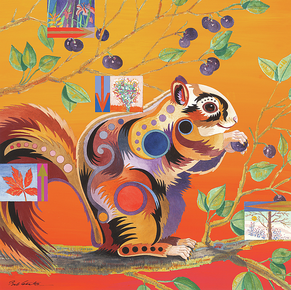 Abstract Realism Painting - Squirrelling Away by Bob Coonts