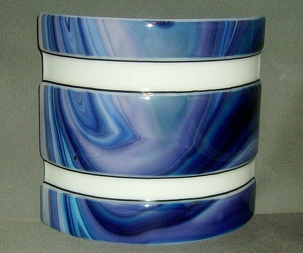 Mood Lamp Glass Art - Sriped Blue Swirl Mood Lamp by Craig Gill