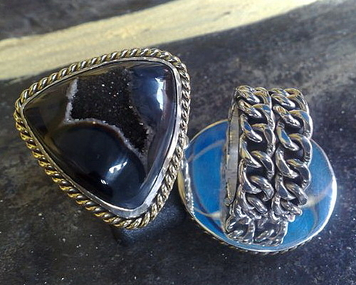 Sterling Silver Necklace Jewelry - Ss Ring With Indonesian Black Drusy by fmnjewel - Fernando Situmeang