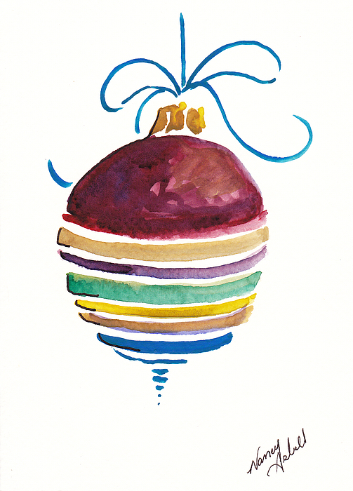 Ornament Painting - Sstriped Antique Ornament by Michele Hollister - for Nancy Asbell