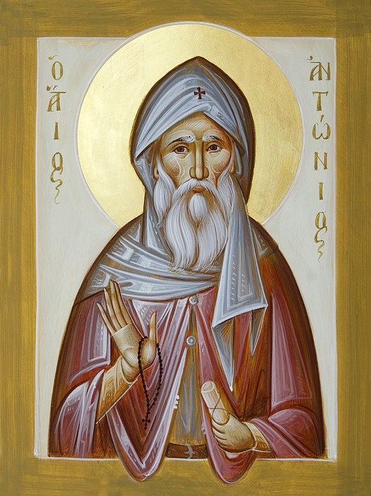 Icon Painting - St Anthony The Great by Julia Bridget Hayes