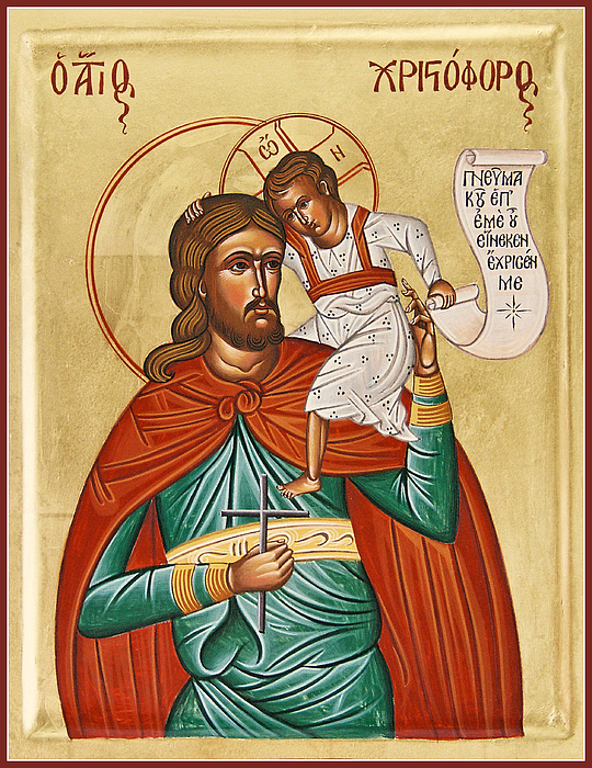 Icon Byzantine Painting - St Christopher by Julia Bridget Hayes