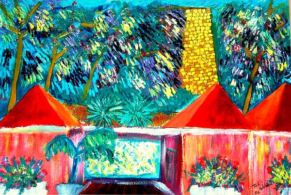 St Croix Villa Painting by Ted Hebbler
