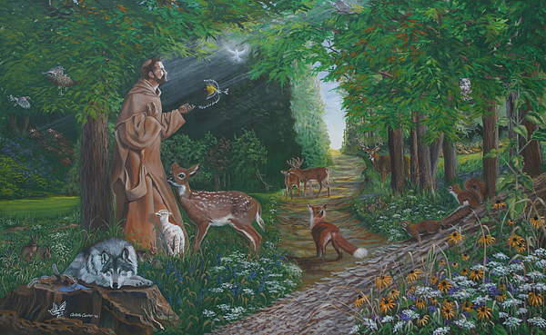 St. Francis Painting - St. Francis Of The Wood by JoAnne Castelli-Castor