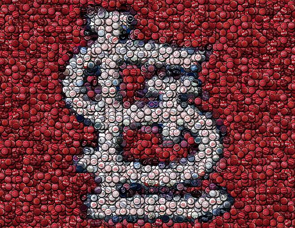 St. Louis Mixed Media - St. Louis Cardinals Bottle Cap Mosaic by Paul Van Scott