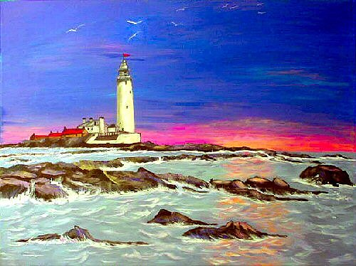 Lighthouse Painting - St Marys Lighthouse by Dia Spriggs