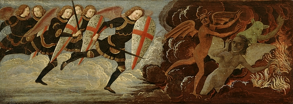 Michael Painting - St. Michael And The Angels At War With The Devil by Domenico Ghirlandaio