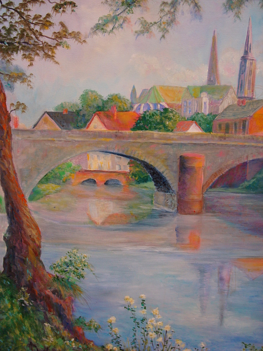 Bridge Painting - St. Peters And St. Augnion Churches by Anne Dentler