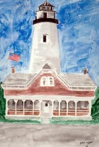 St Simons Lighthouse Nautical Painting Print Painting by Derek Mccrea