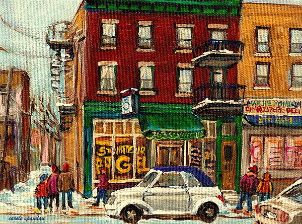 St. Viateur Bagel And Mehadrins Painting - St Viateur Bagel And Mehadrins Deli by Carole Spandau