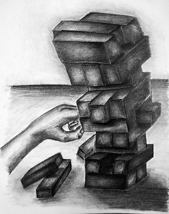 Building Blocks Drawing - Stacked Up by Tracy Glantz