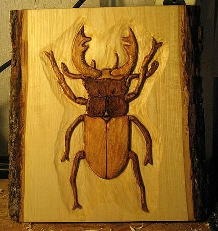 Relief Woodcarving Relief - Stag Beetle by Christina White