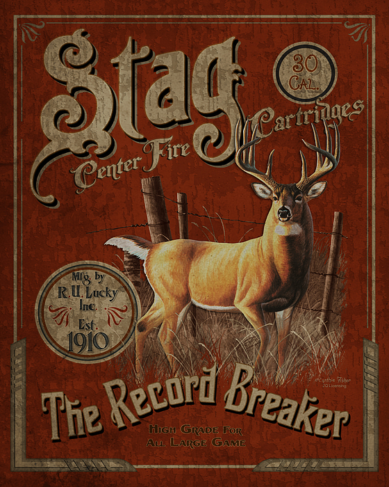 Cynthie Fisher Painting - Stag Cartridges Sign by JQ Licensing