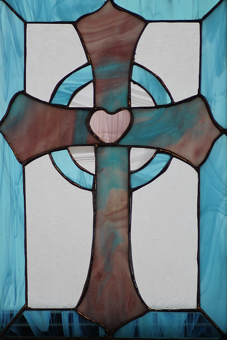 Stained Glass Glass Art - Stained Glass Cross by Ralph Hecht