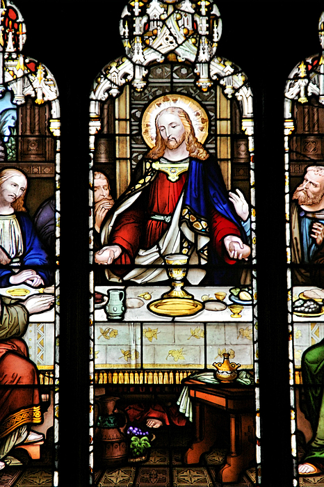 Stained Photograph - Stained Glass Window Last Supper Saint Giles Cathedral Edinburgh Scotland by Christine Till