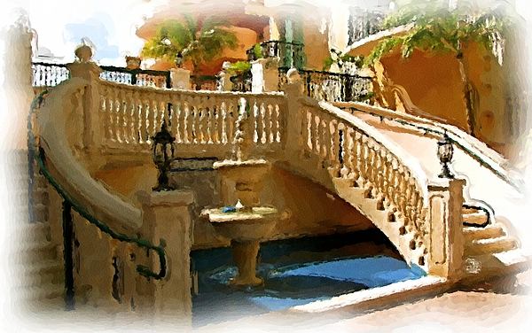 Fountain Photograph - Staircase And Fountain by Ralph Liebstein