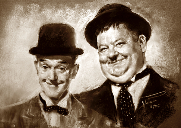 Stan Laurel Oliver Hardy Drawing by Ylli Haruni – Laurel and Hardy Birthday Cards
