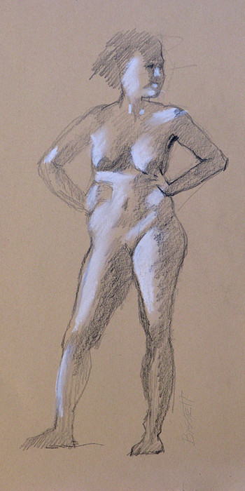 Life Drawing - Standing Nude 1 by Robert Bissett