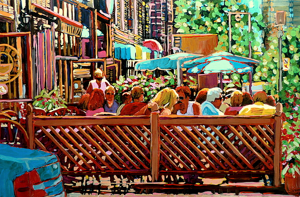 Montreal Streets Painting - Starbucks Cafe On Monkland Montreal Cityscene by Carole Spandau