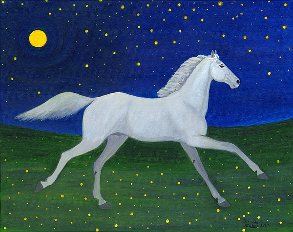 Horse Painting - Starry Night In August by Anna Folkartanna Maciejewska-Dyba